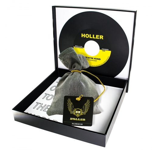 Holler Mancha  Black Polished U-Buckle / Blue, White and Yellow Paracord Bracelet