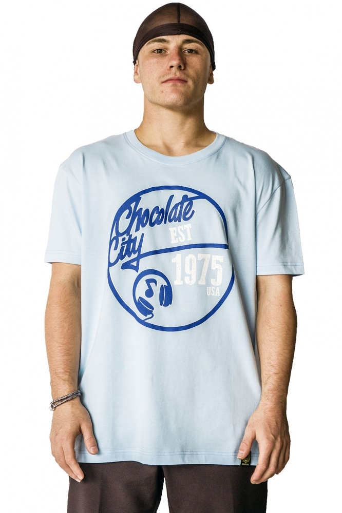 Mello Light Blue, Blue And White T-Shirt