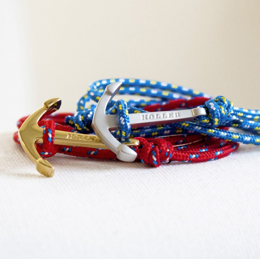 Mosley  Gold Polished Anchor / Blue, Yellow and White Paracord Bracelet