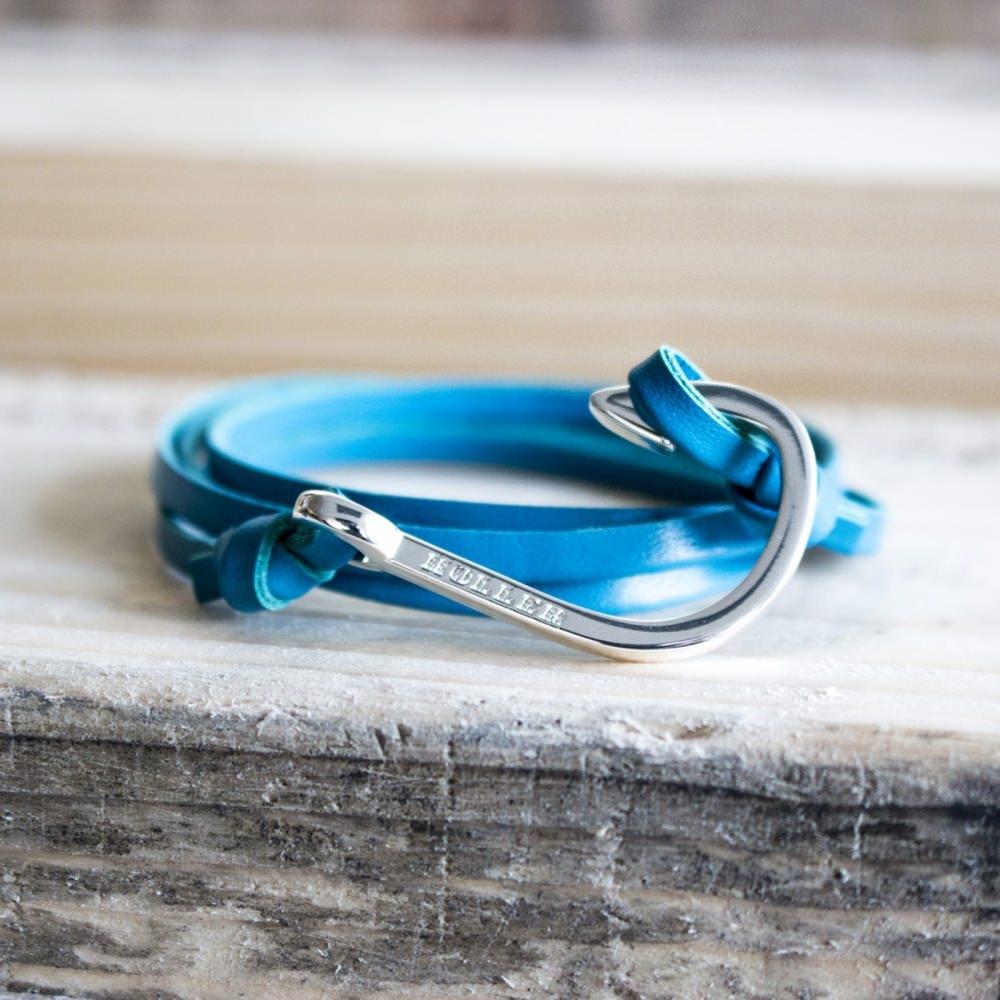 Kirby  Gold Polished Hook / Light Blue Leather Bracelet