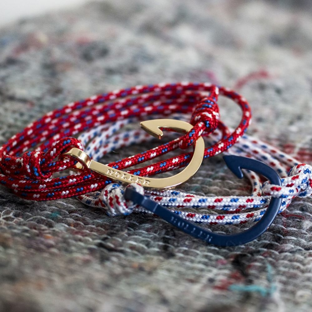 Kirby  Gold Polished Hook / Gold, Red and Blue Paracord Bracelet