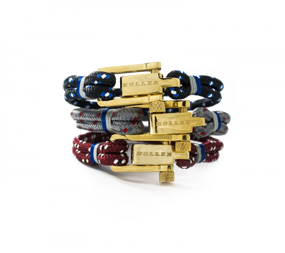 Mancha  Gold Polished U-Buckle / Black, Blue and White Paracord Bracelet