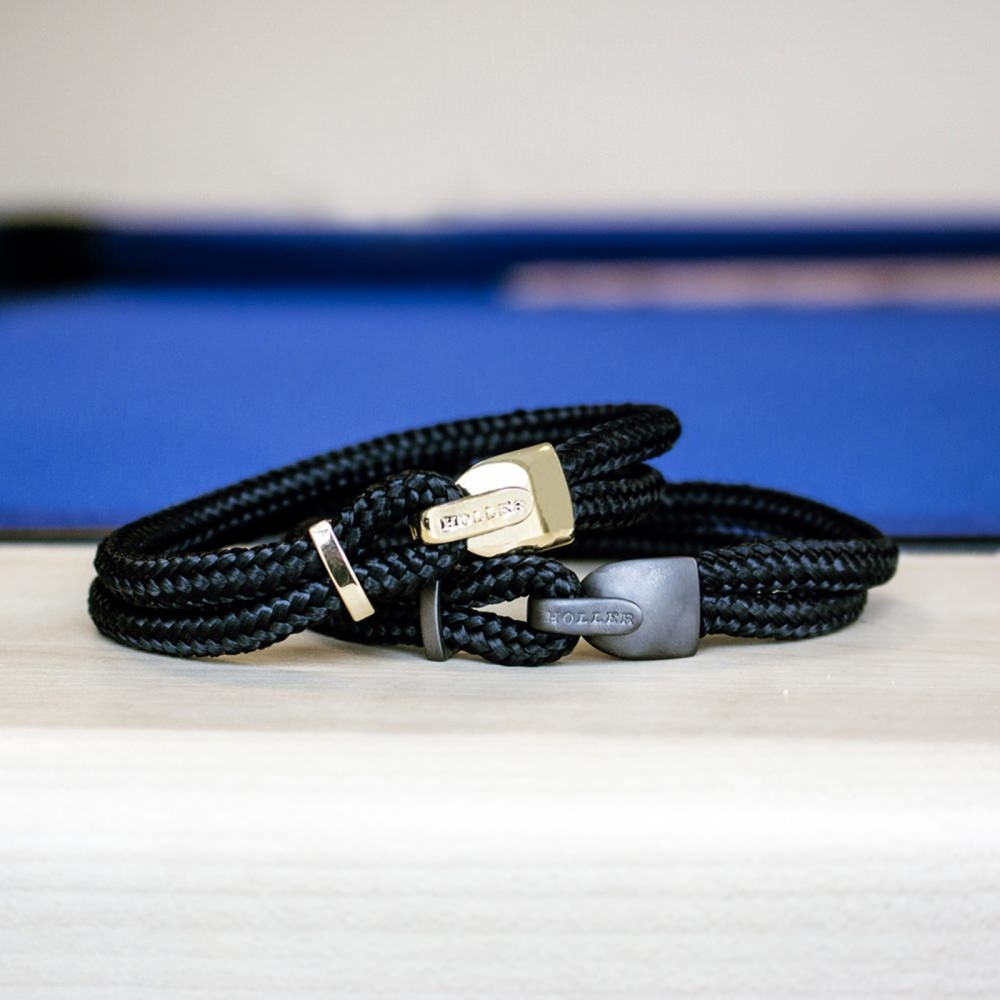 Lasky  Rose Gold Polished Lock / Black Paracord Bracelet