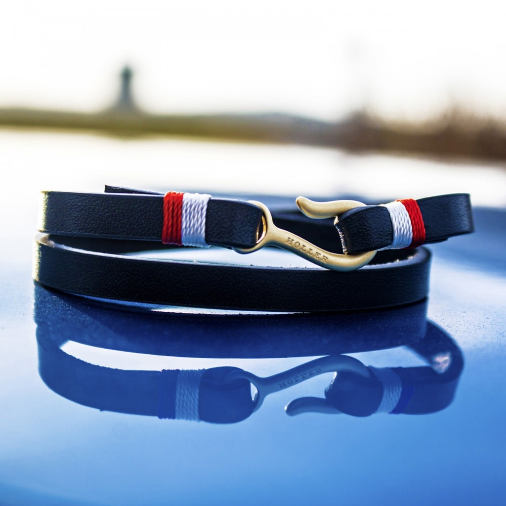 Tipton  Black Polished Small Hook / Navy Blue Leather Bracelet