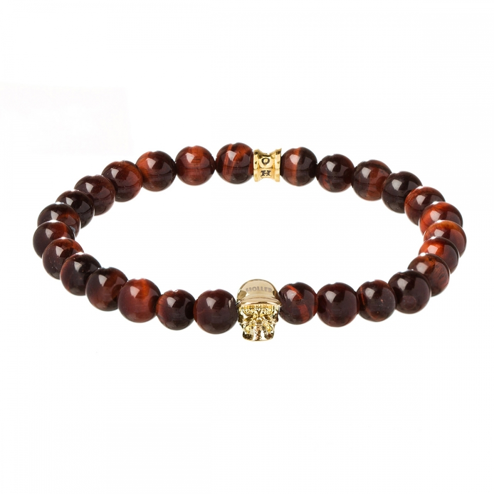 Jefferson 8mm Red Tiger Eye Stone Bracelet