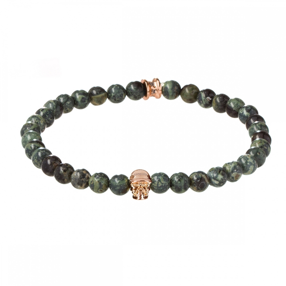 Jefferson 6mm Green Kambaba Stone Bracelet