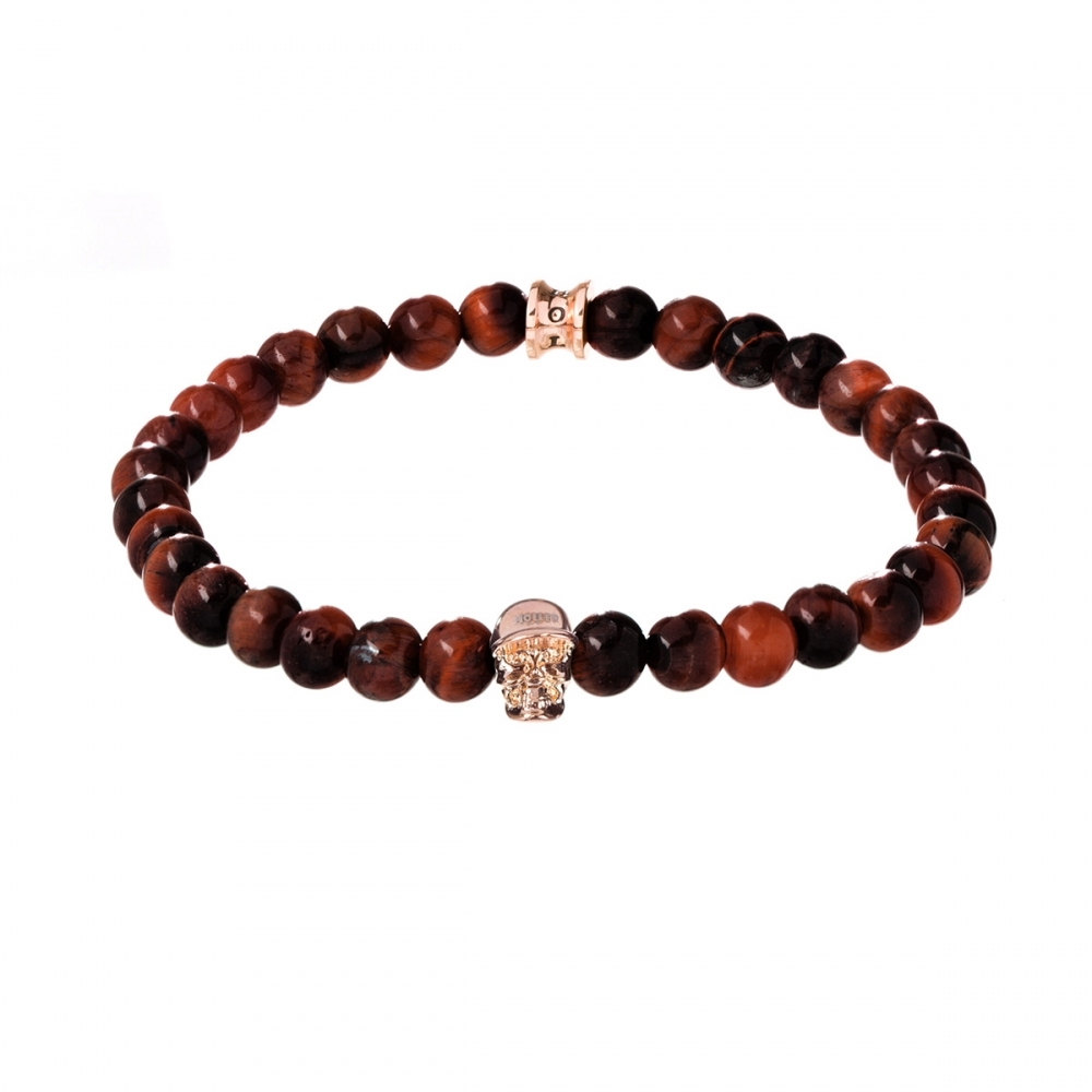 Jefferson 6mm Red Tiger Eye Stone Bracelet