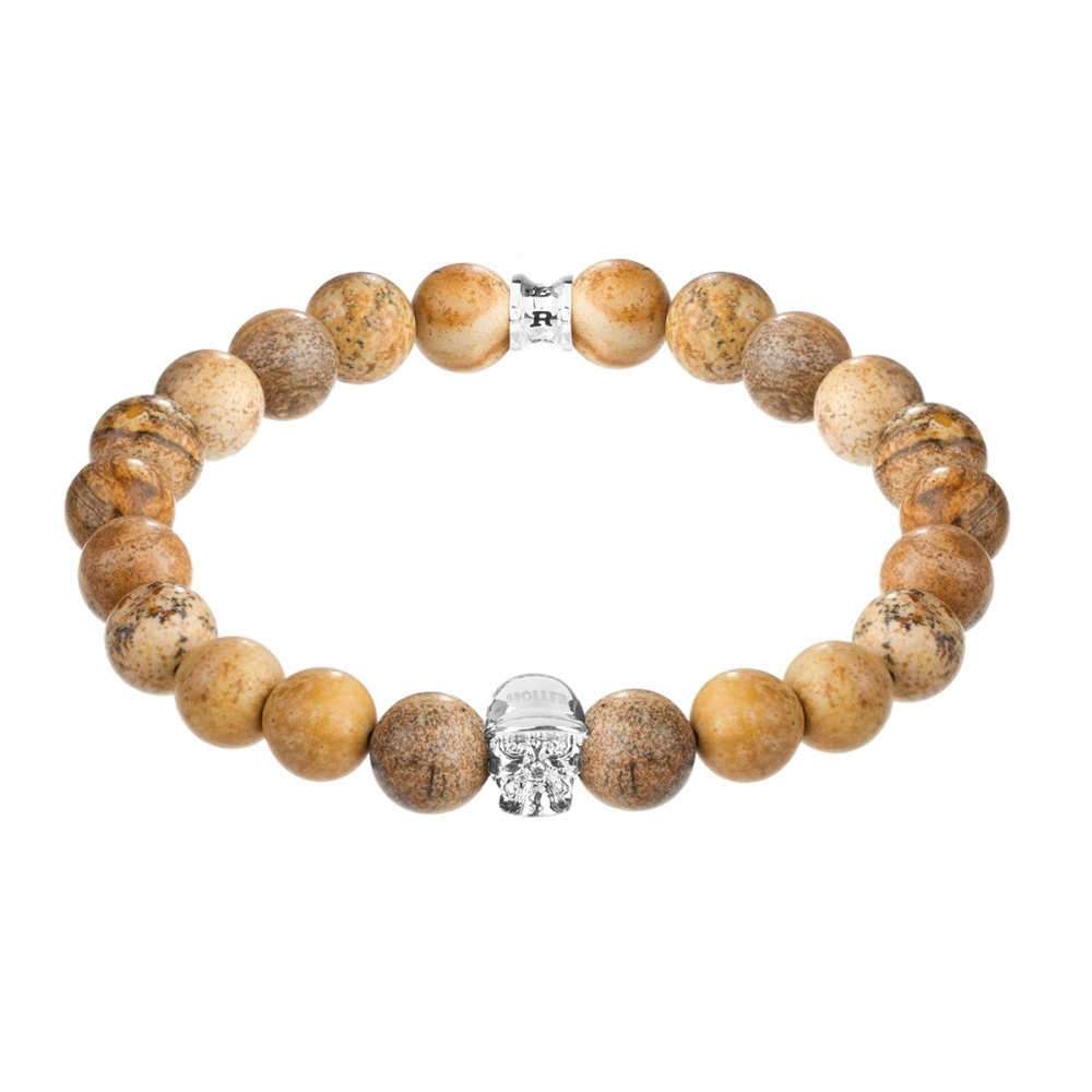 Jefferson 10mm Beige Jasper Stone Bracelet