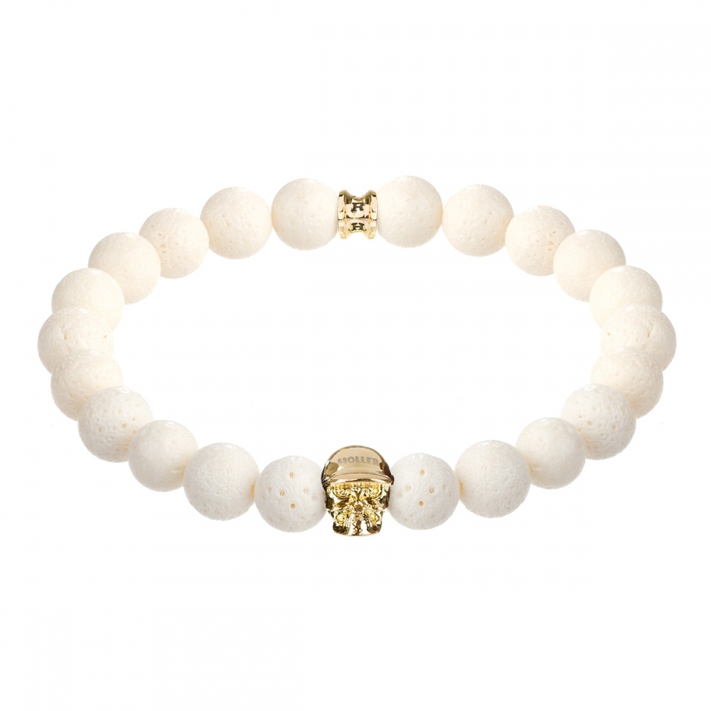 Jefferson 10mm White Coral Stone Bracelet