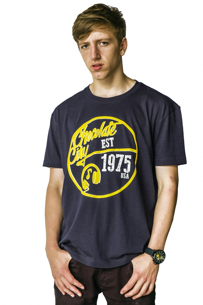 Holler Mello Navy, Yellow And White T-Shirt