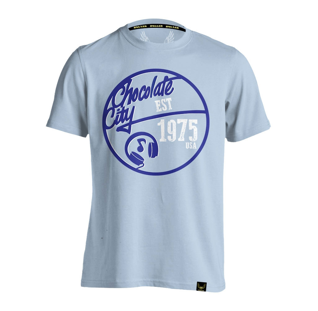 Mello Light Blue, Blue And White T-Shirt