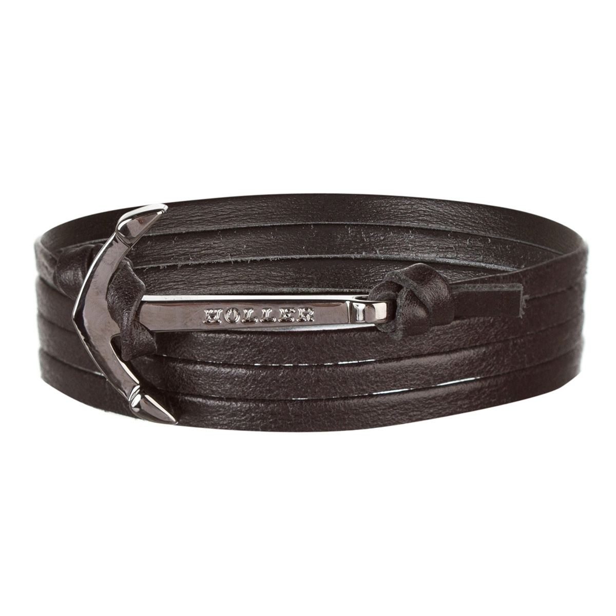 Mosley  Black Polished Anchor / Black Leather Bracelet