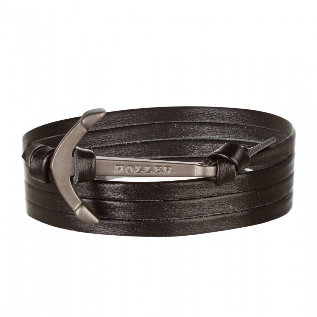 Mosley  Black Sandblasted Anchor / Black Leather Bracelet