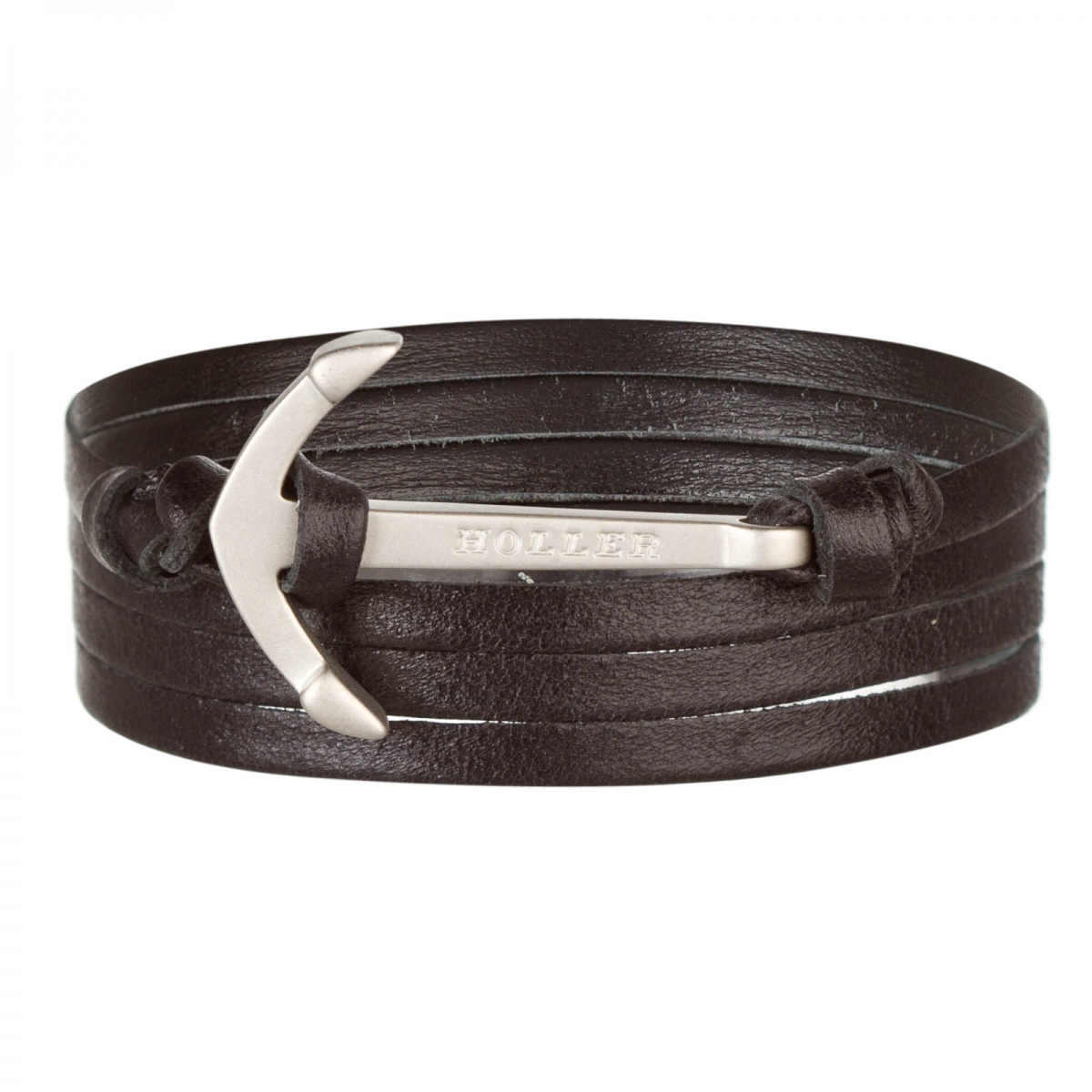 Mosley  Silver Sandblasted Anchor / Black Leather Bracelet