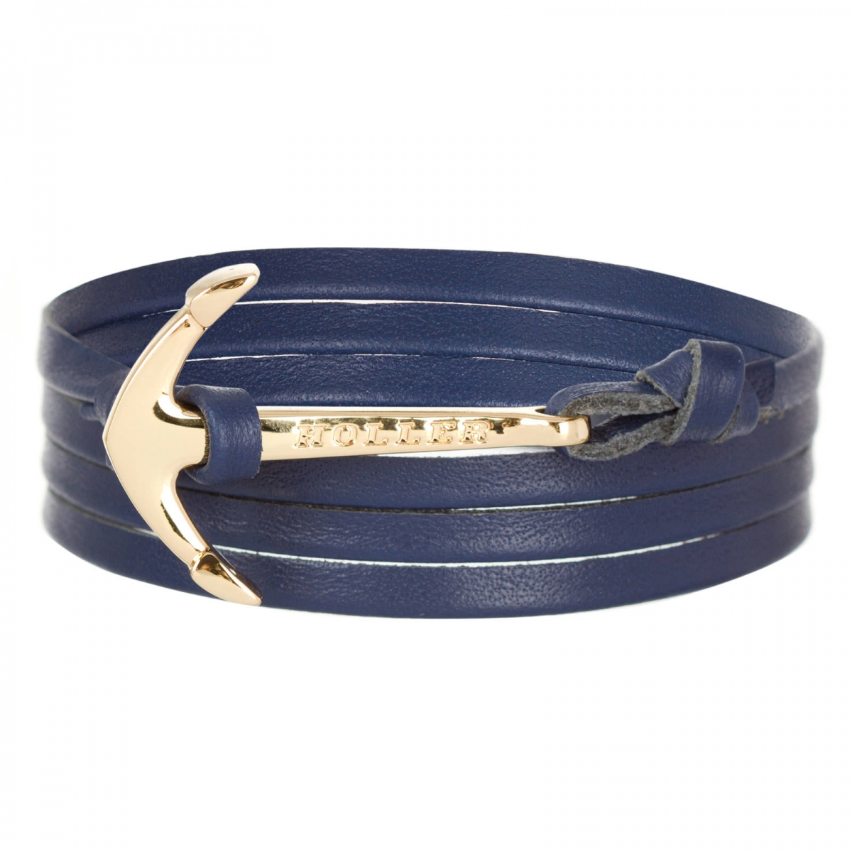Mosley  Gold Polished Anchor / Blue Leather Bracelet