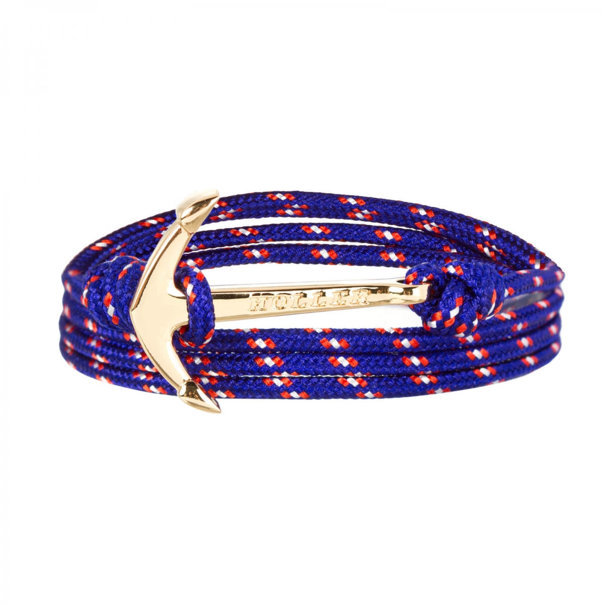 Mosley  Gold Polished Anchor / Blue, Red and White Paracord Bracelet