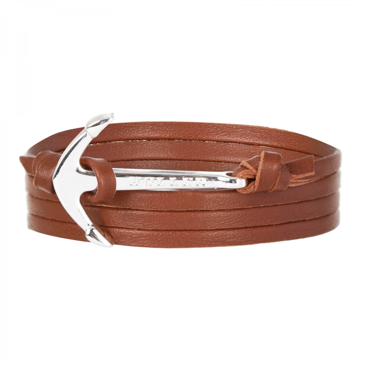 Mosley  Silver Polished Anchor / Brown Leather Bracelet