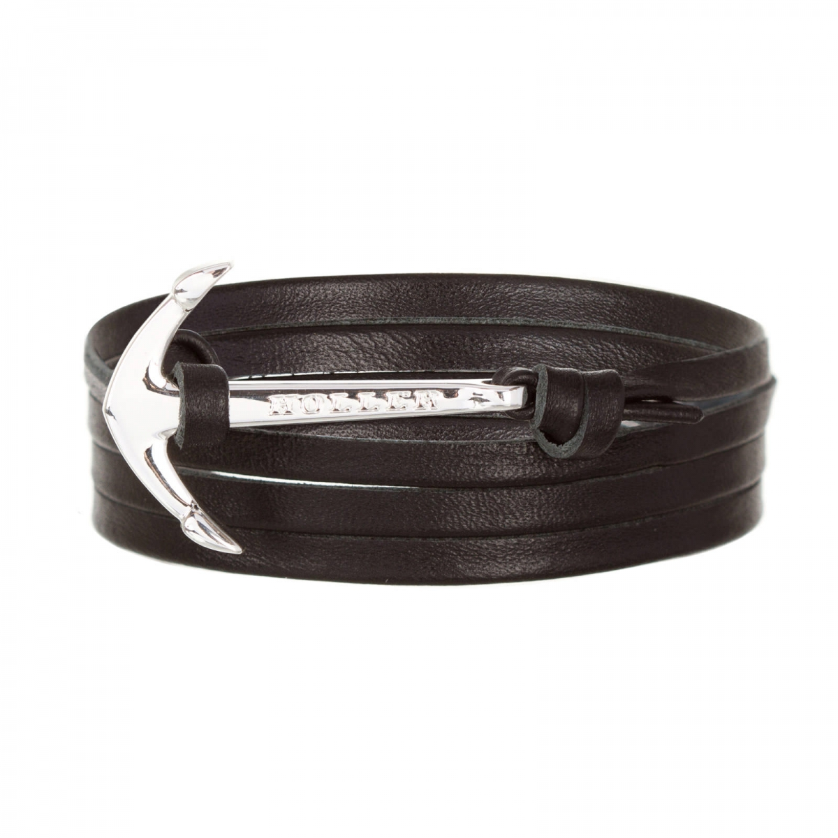 Mosley  Silver Polished Anchor / Black Leather Bracelet