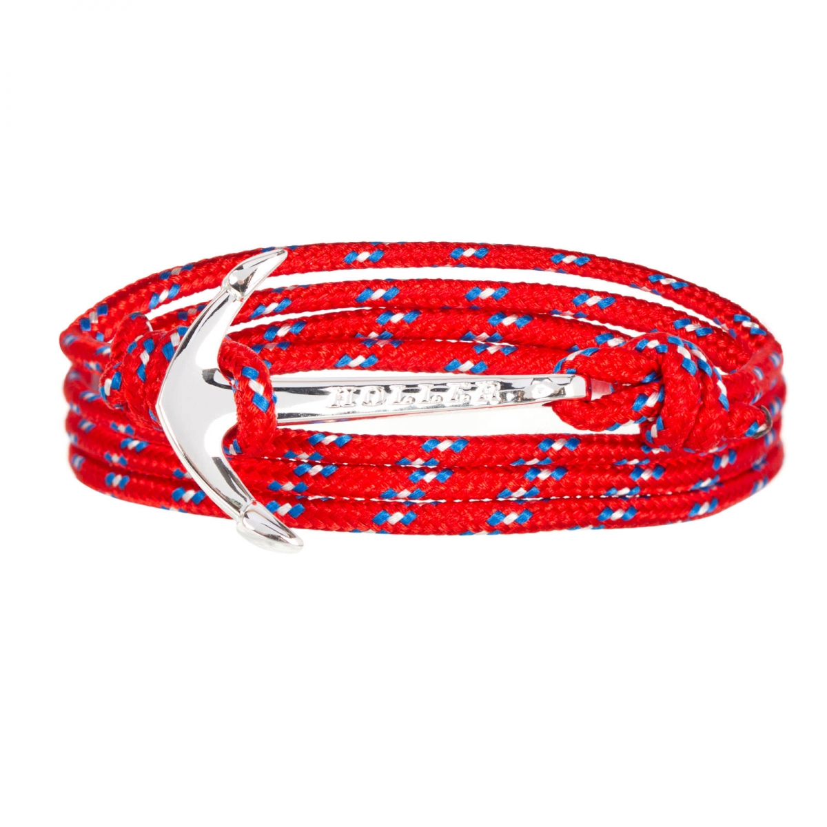 Mosley  Silver Polished Anchor / Red, Blue and White Paracord Bracelet