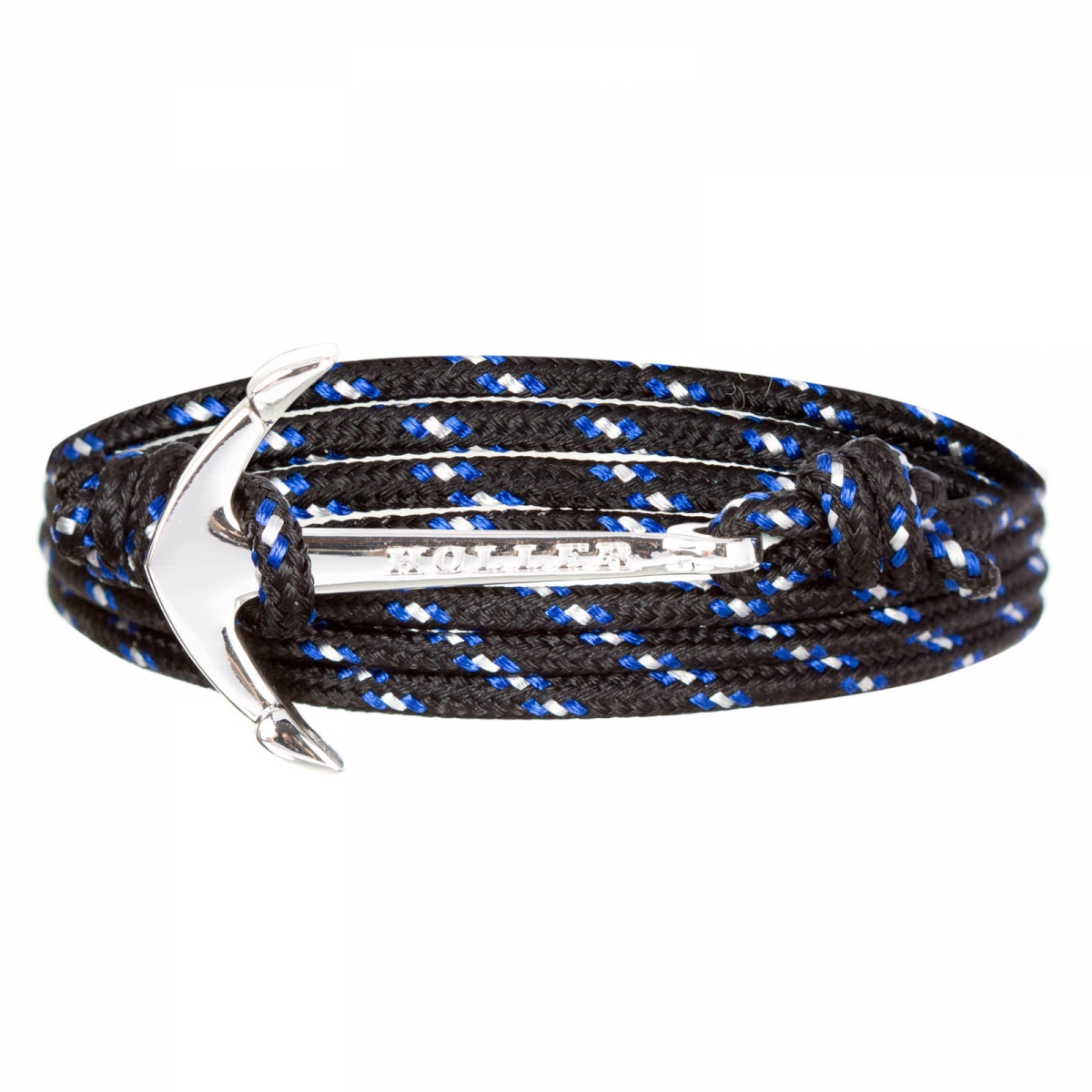 Mosley  Silver Polished Anchor / Black, Blue and White Paracord Bracelet