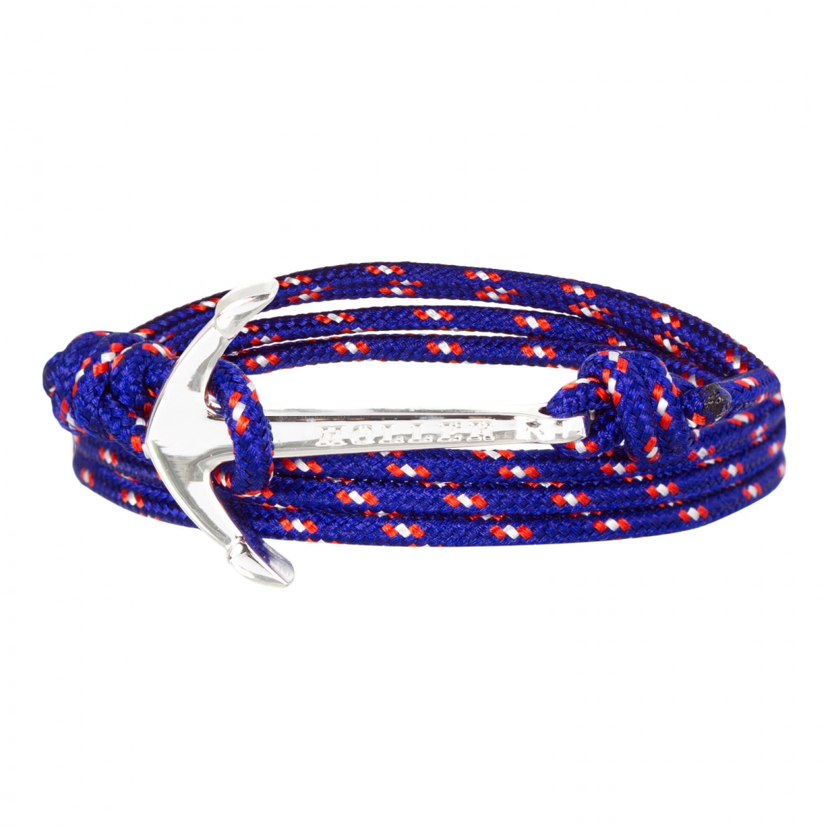 Mosley  Silver Polished Anchor / Blue, Red and White Paracord Bracelet