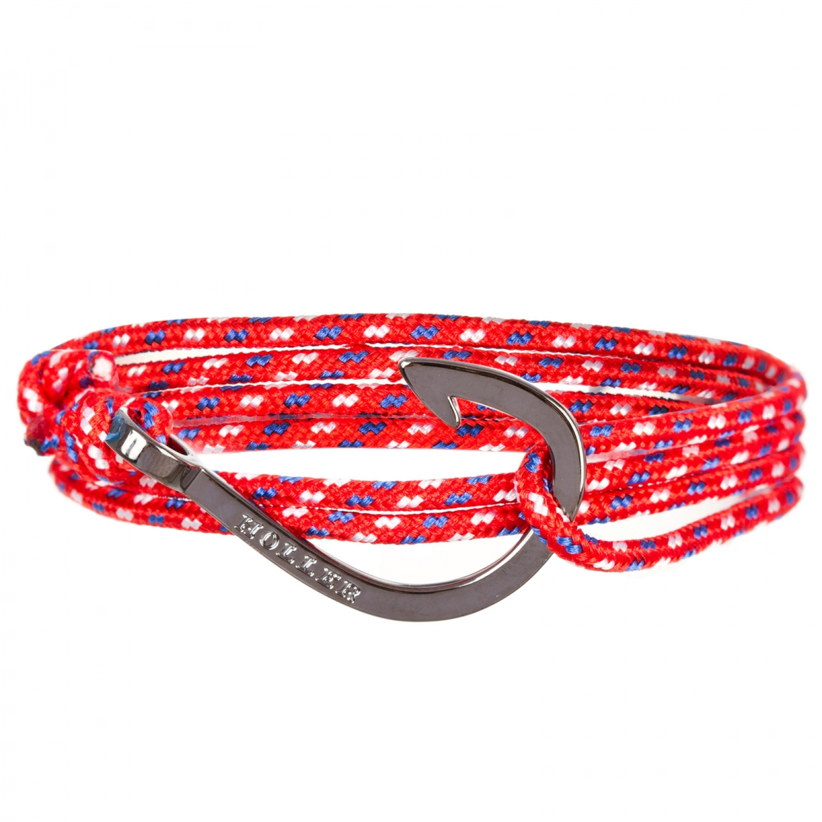 Kirby  Black Polished Hook / Red, Blue and White Paracord Bracelet