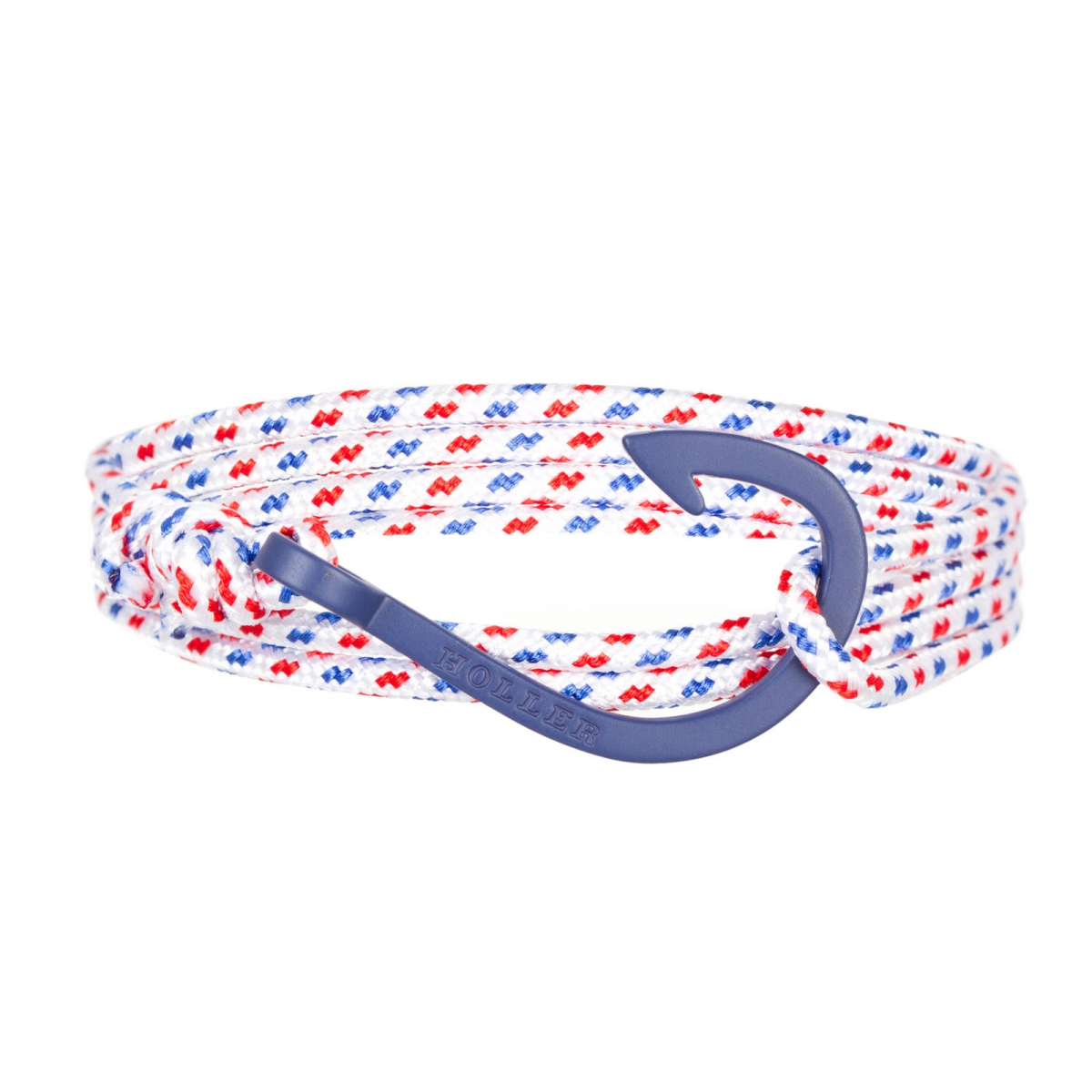 Kirby  Blue Sandblasted Hook / White, Blue and Red Paracord Bracelet