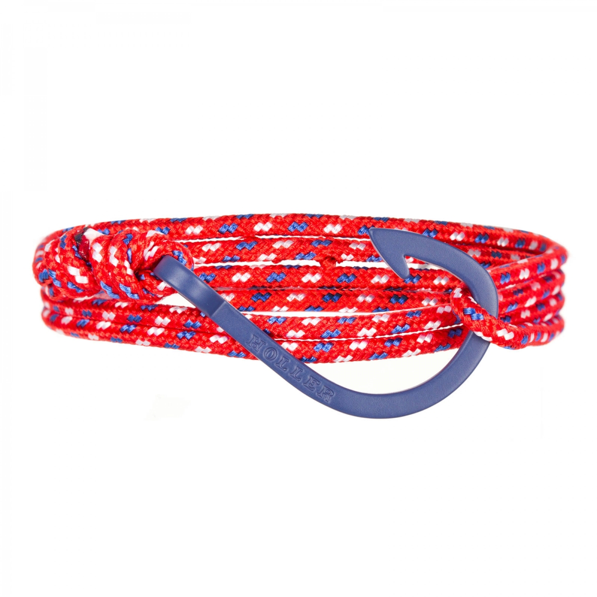 Kirby  Blue Sandblasted Hook / Red, Blue and White Paracord Bracelet