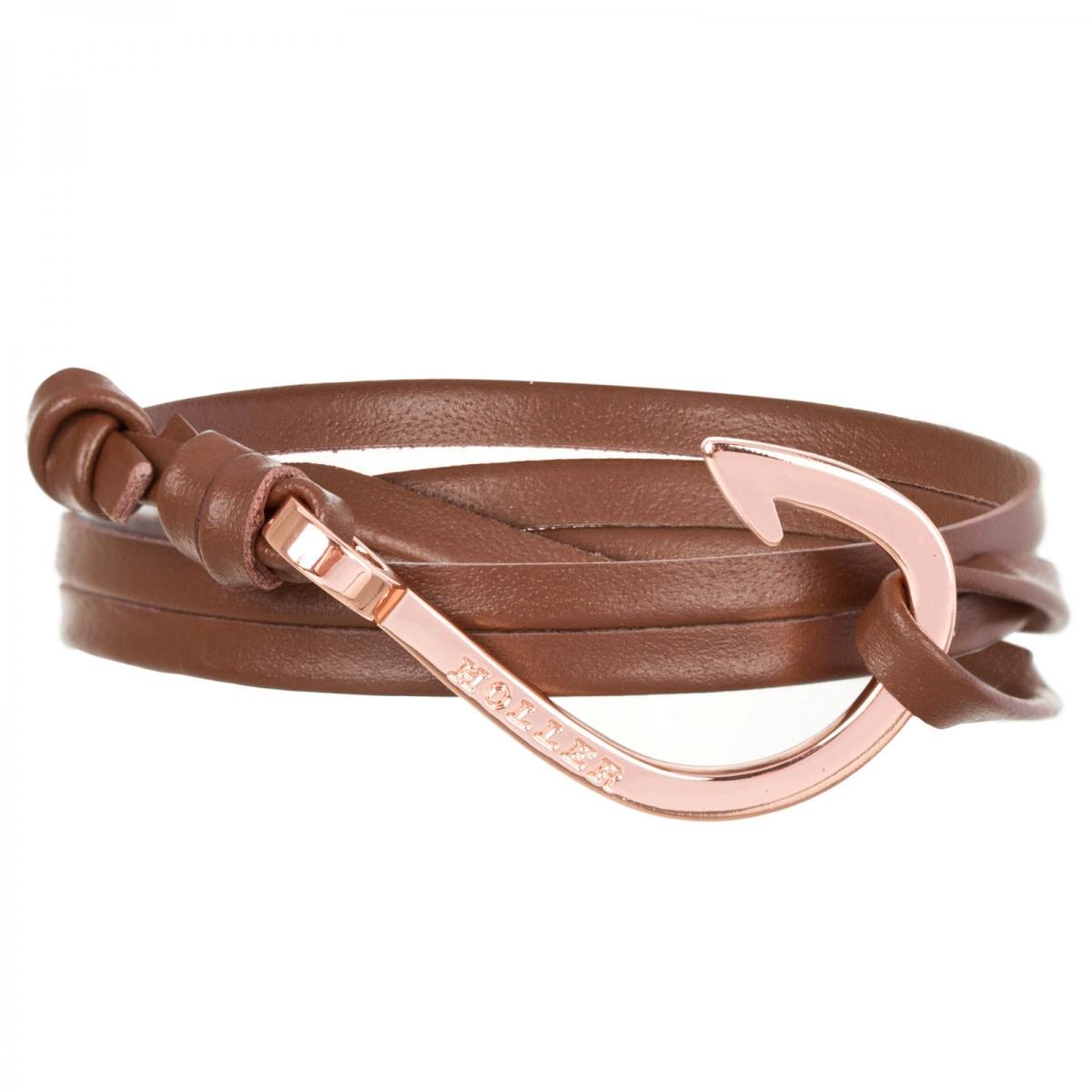 Kirby  Rose Gold Polished Hook / Brown Leather Bracelet