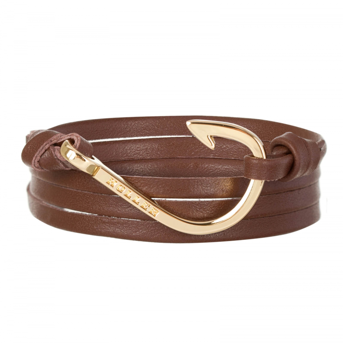 Kirby  Gold Polished Hook / Brown Leather Bracelet