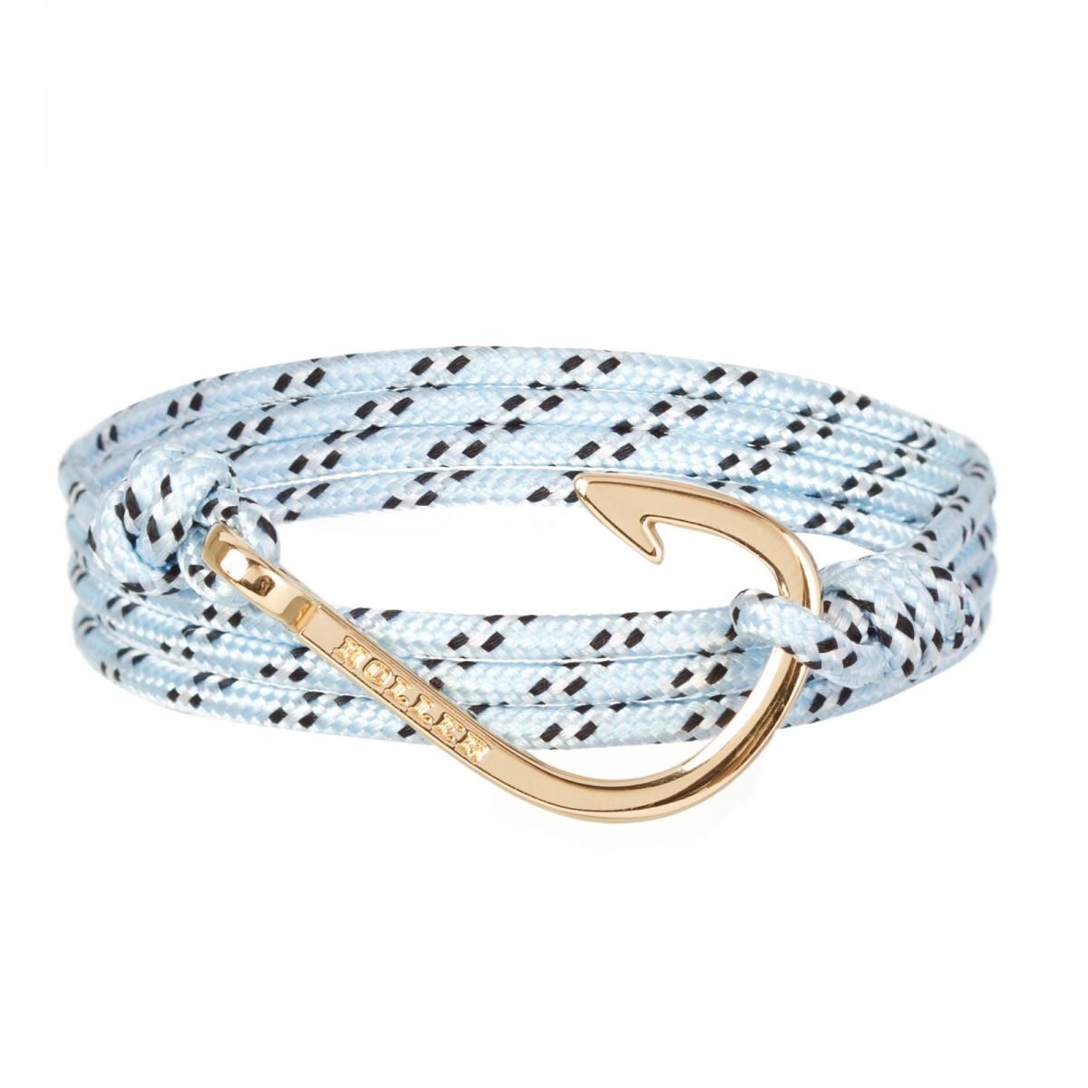 Kirby  Gold Polished Hook / Light Blue, Black and White Paracord Bracelet
