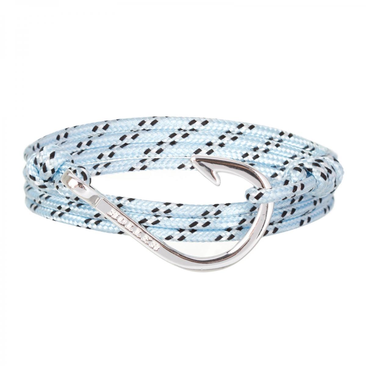 Kirby  Silver Polished Hook / Light Blue, Black and White Paracord Bracelet