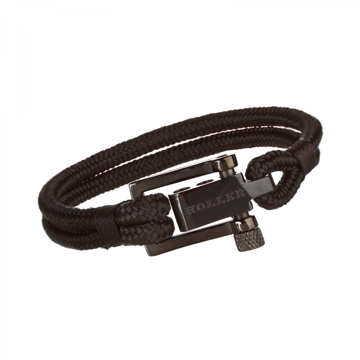 Mancha  Black Polished U-Buckle / Black Paracord Bracelet
