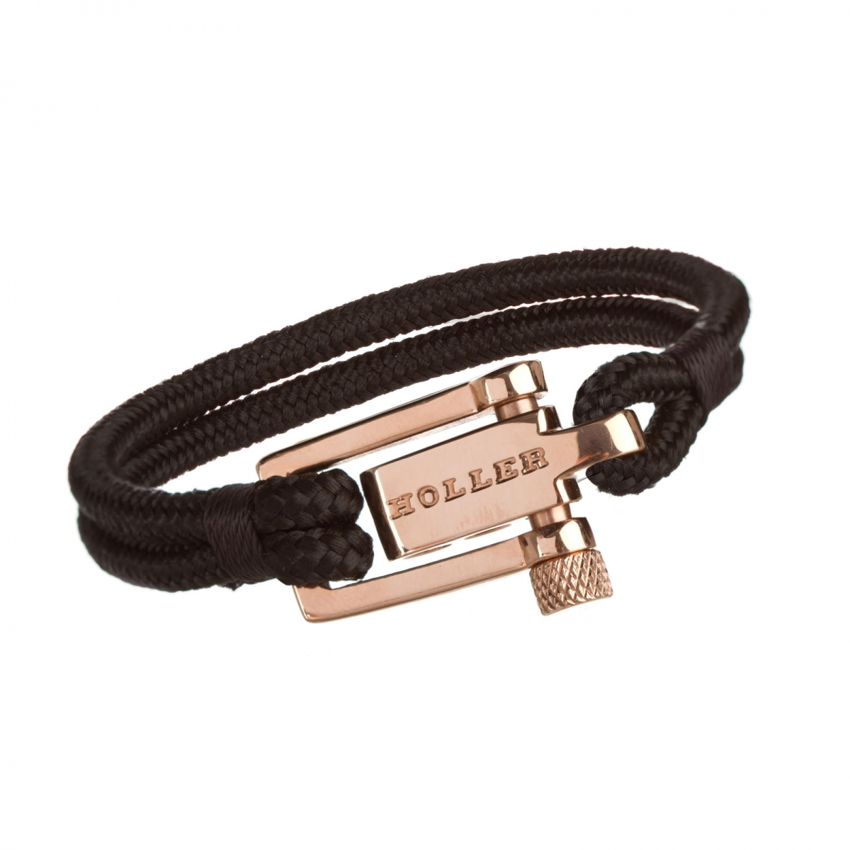 Mancha  Rose Gold Polished U-Buckle / Black Paracord Bracelet