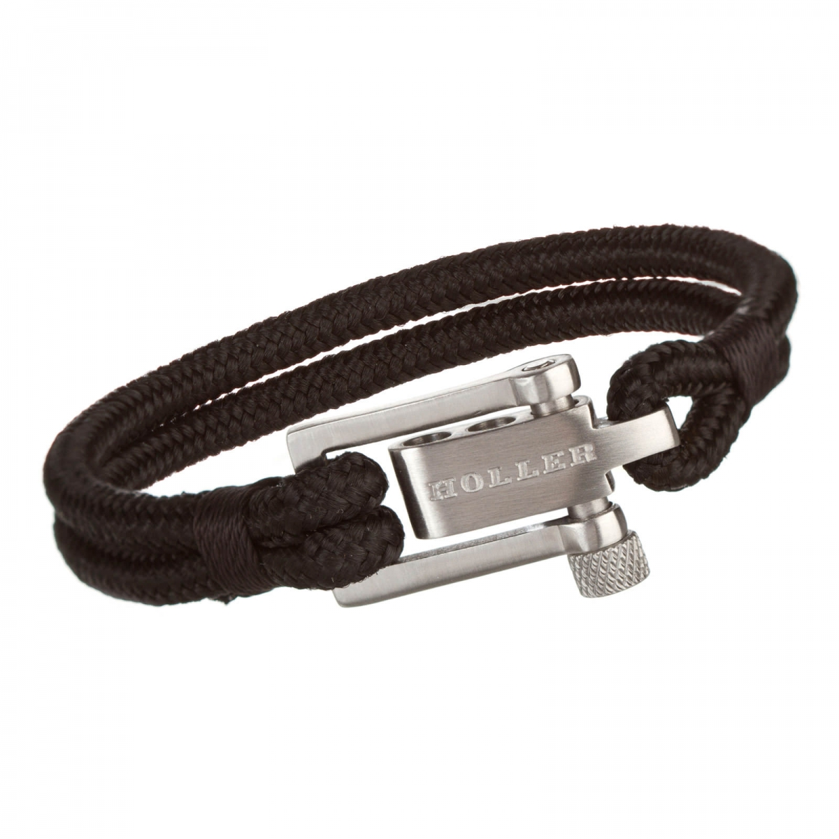 Mancha  Silver Brushed U-Buckle / Black Paracord Bracelet