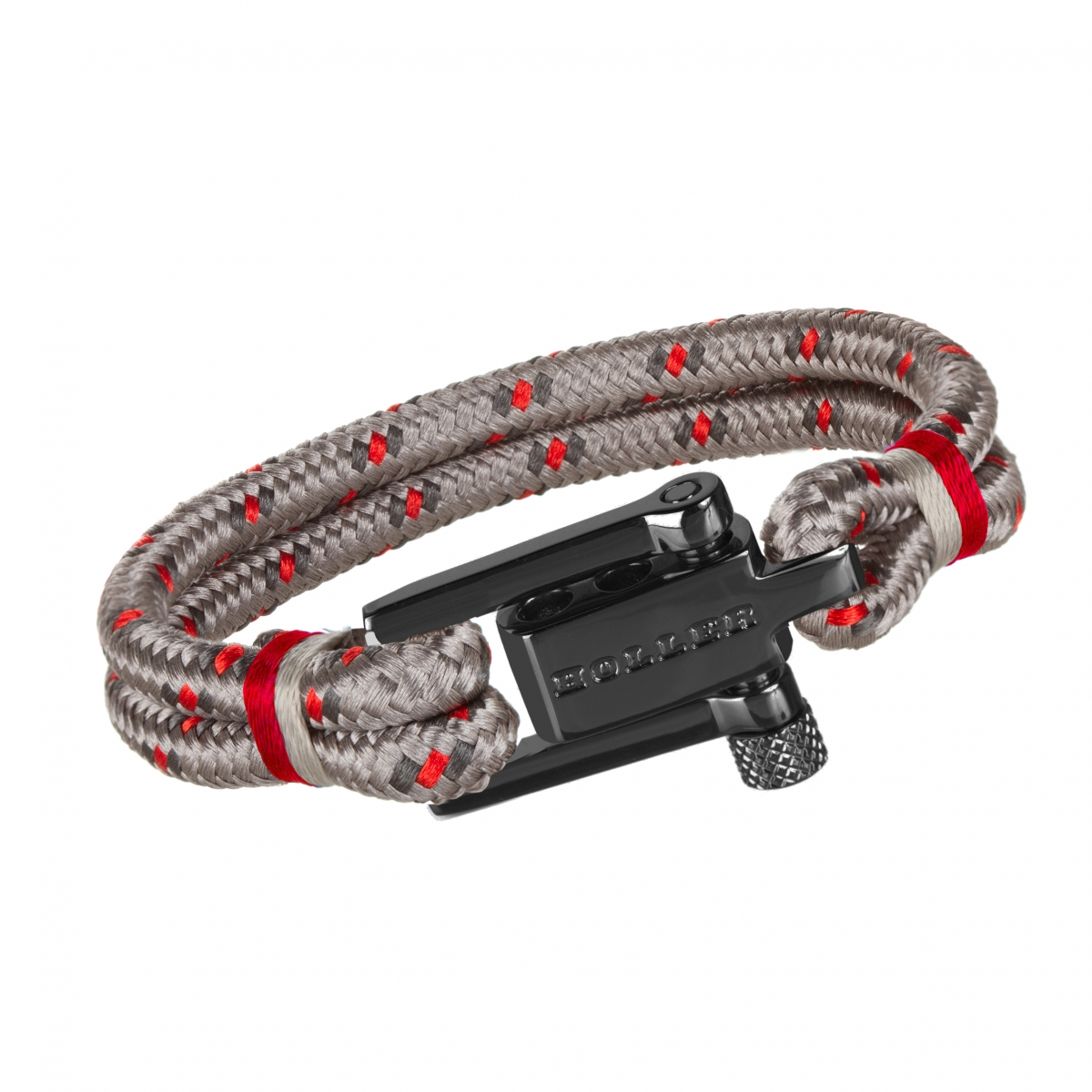 Mancha  Black Polished U-Buckle / Burlap Paracord Bracelet