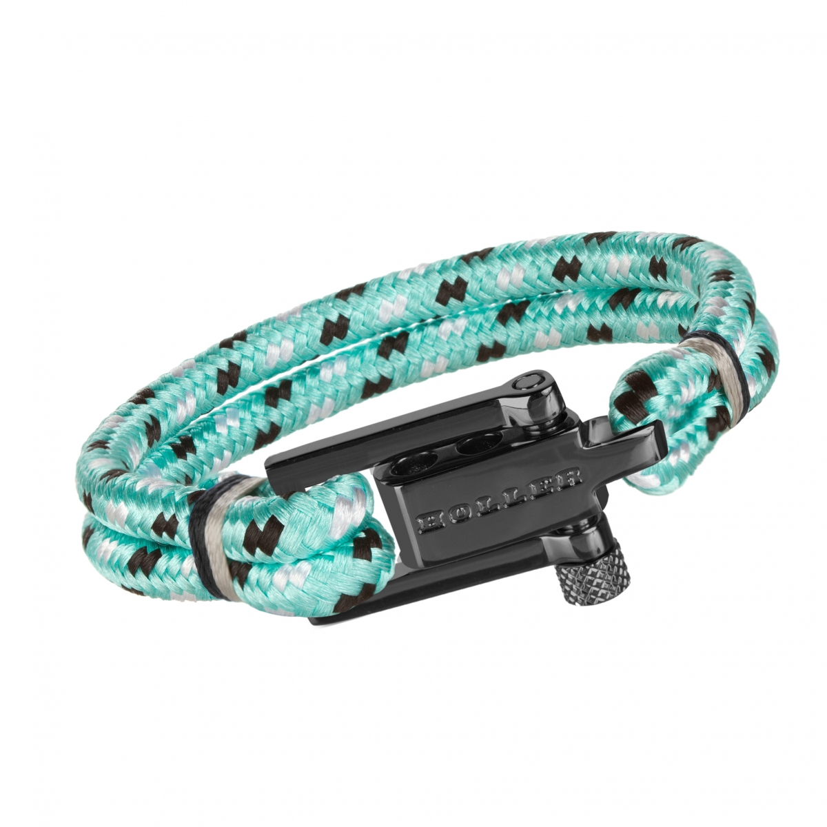 Mancha  Black Polished U-Buckle / Mint Green Paracord Bracelet