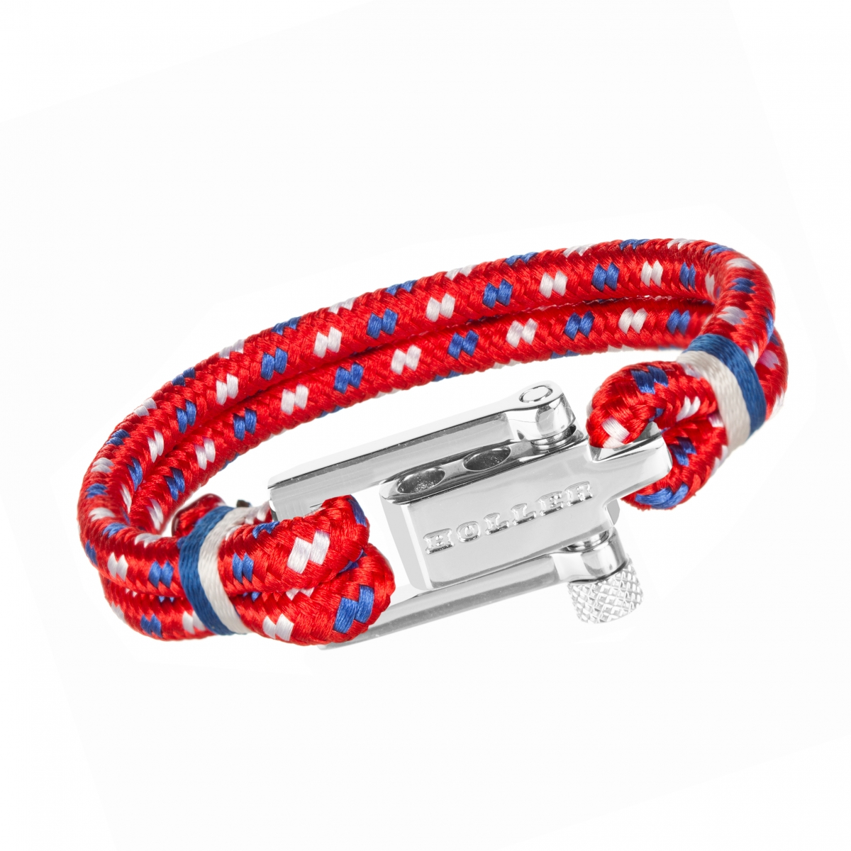 Mancha  Silver Polished U-Buckle / Red Paracord Bracelet