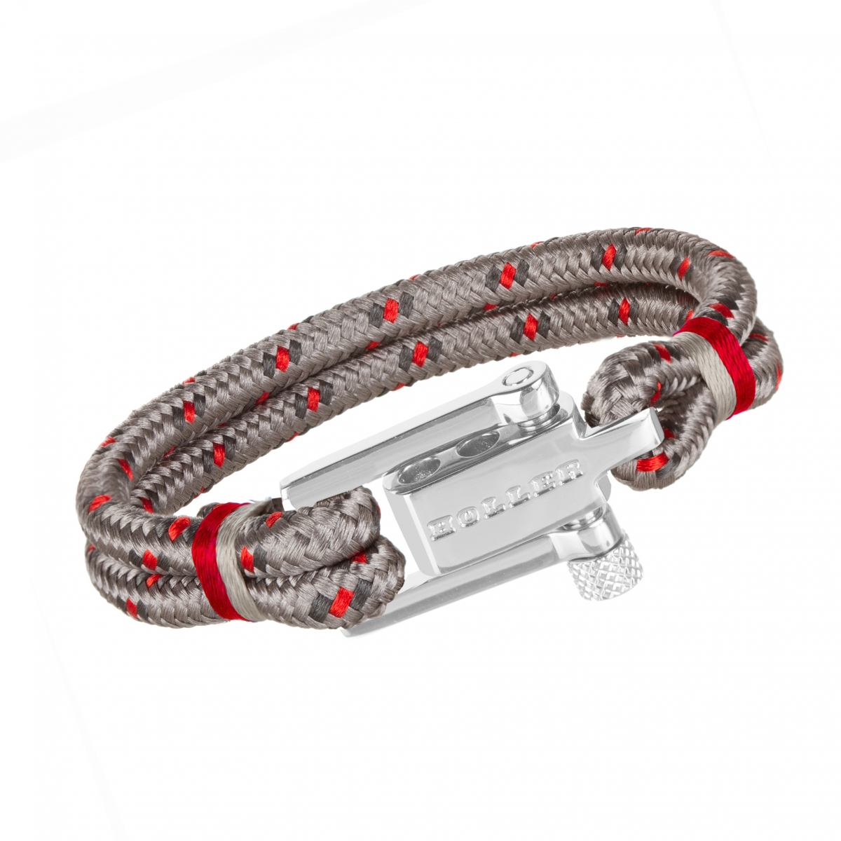 Mancha  Silver Polished U-Buckle / Burlap Paracord Bracelet