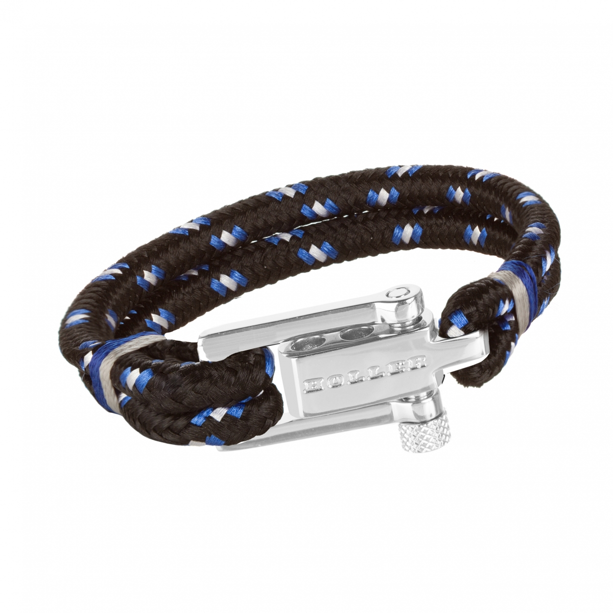 Mancha  Silver Polished U-Buckle / Black and White Paracord Bracelet