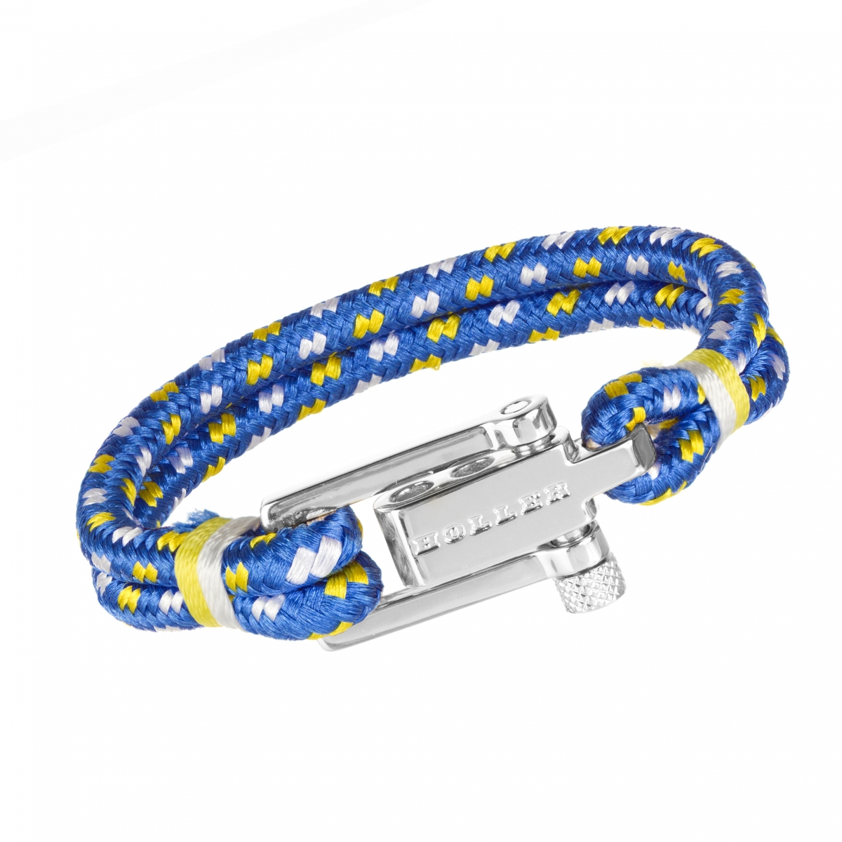 Mancha  Silver Polished U-Buckle / Blue, White and Yellow Paracord Bracelet