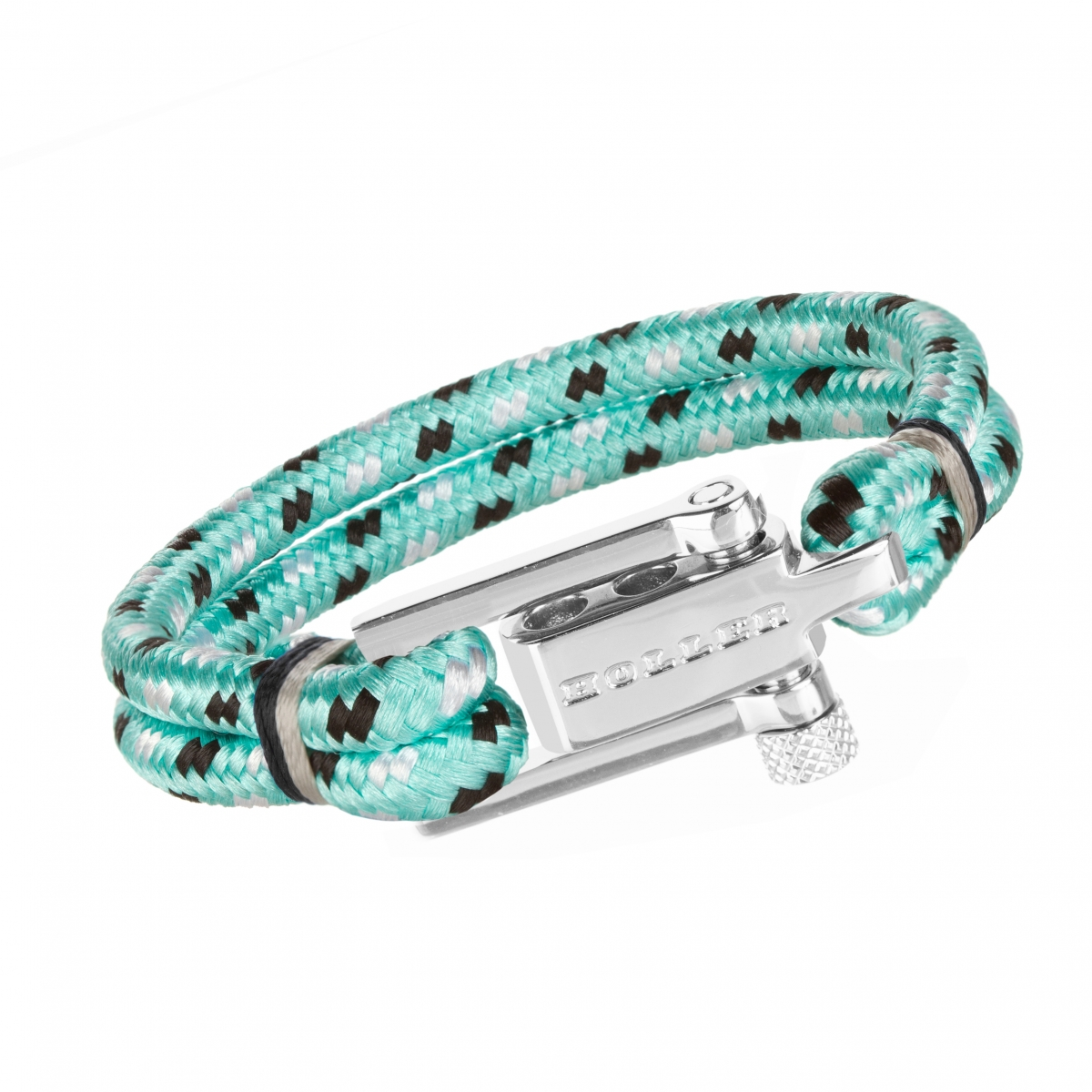 Mancha  Silver Polished U-Buckle / Mint Green Paracord Bracelet