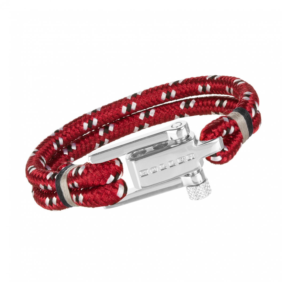 Mancha  Silver Polished U-Buckle / Dark Red Paracord Bracelet