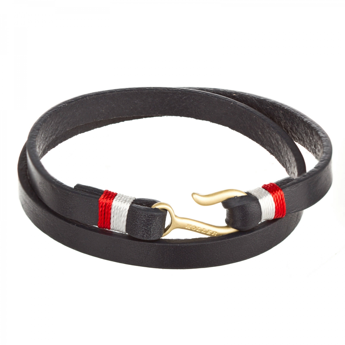 Tipton  Gold Sandblasted Small Hook / Navy Blue Leather Bracelet