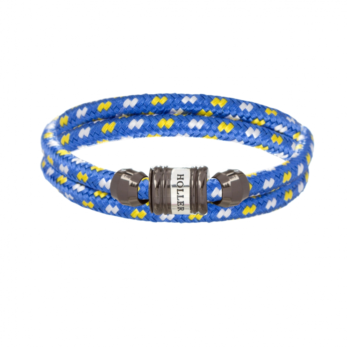 Bailey Black Polished Barrel / Blue, White and Yellow Paracord Bracelet