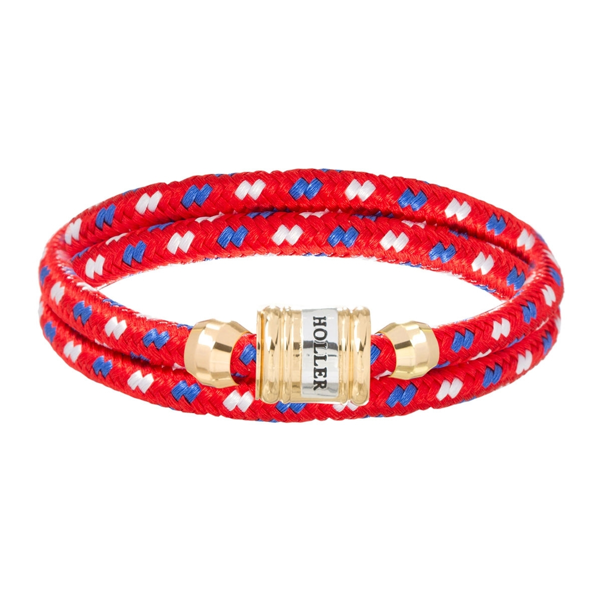 Bailey Gold Polished Barrel / Red Paracord Bracelet