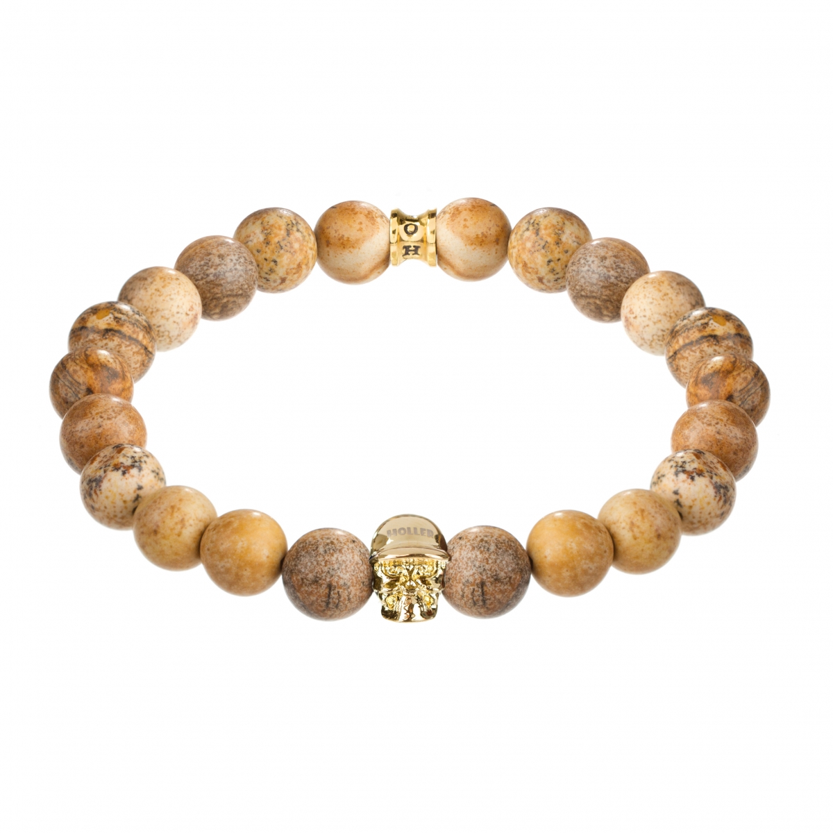 Jefferson Gold Polished Skull / 10mm Beige Jasper Natural Stone Bracelet