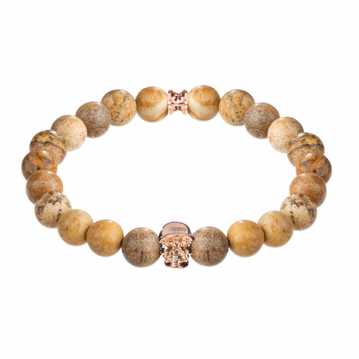 Jefferson Rose Gold Polished Skull / 10mm Beige Jasper Natural Stone Bracelet