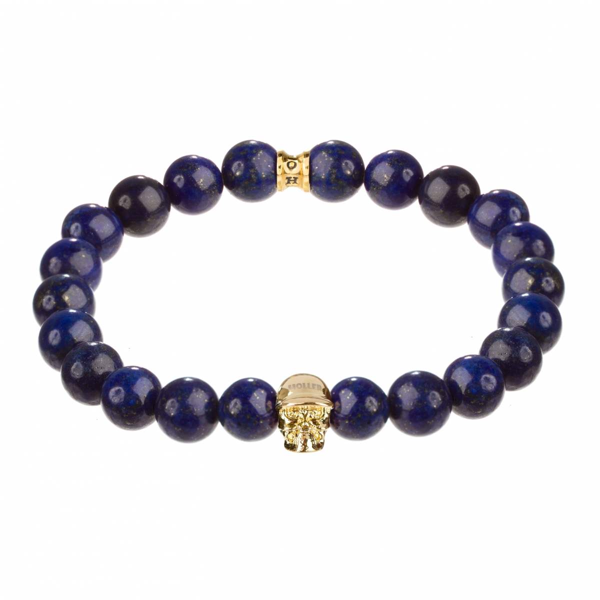 Jefferson Gold Polished Skull / 10mm Blue Gold Dumortierite Natural Stone Bracelet