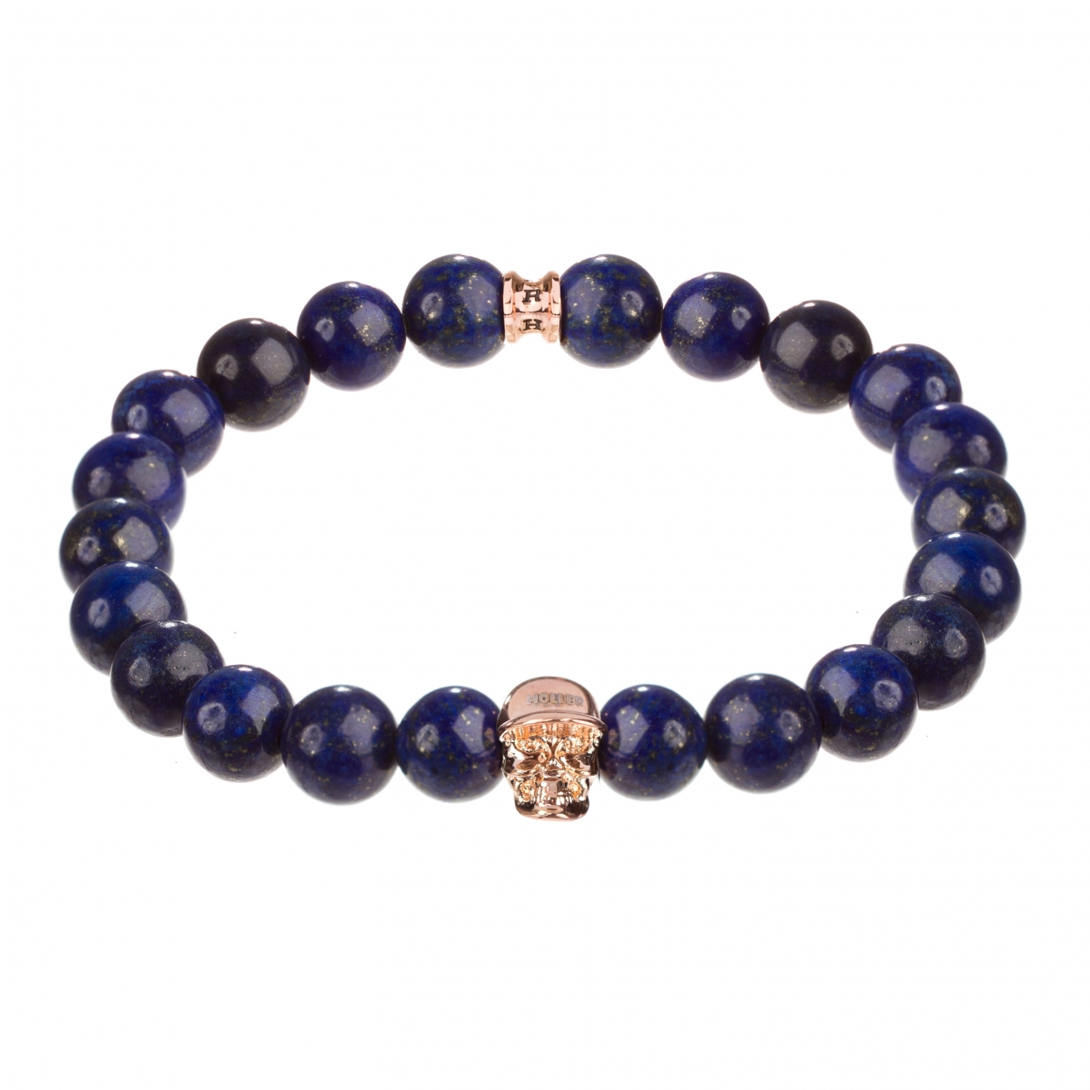 Jefferson Rose Gold Polished Skull / 10mm Blue Gold Dumortierite Natural Stone Bracelet